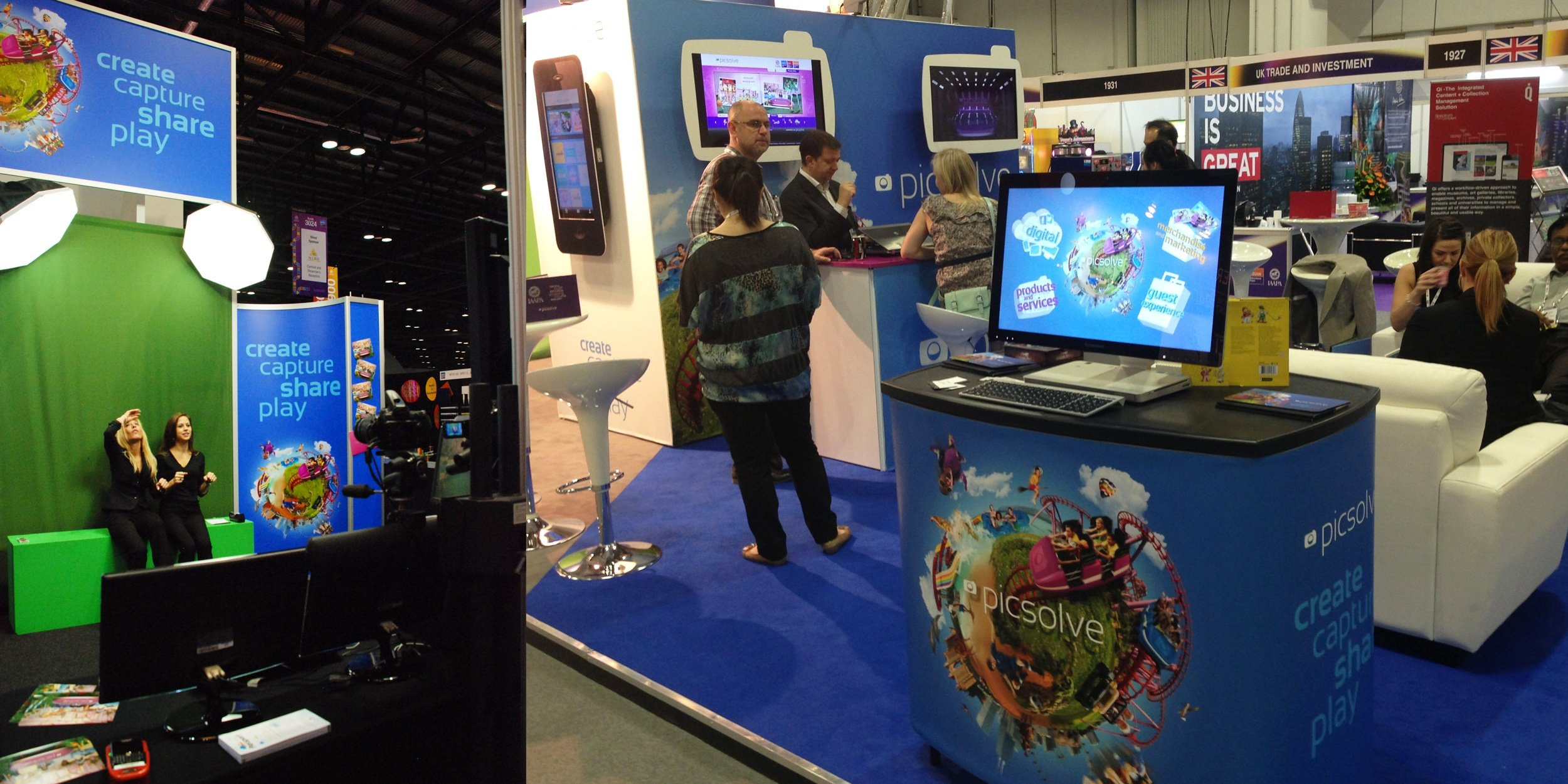 Picsolve's stand at IAAPA featuring green screen experience and photography