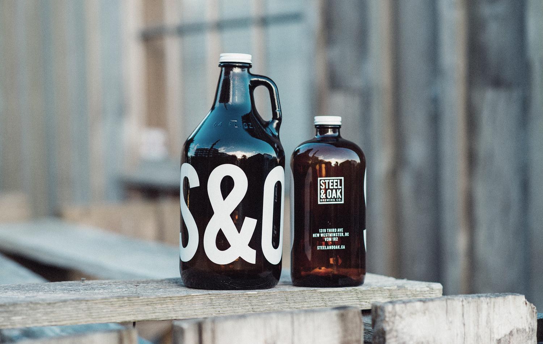 Steel and Oak beer packaging