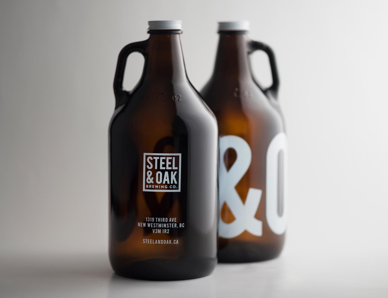 Steel and Oak Brewing co packaging design